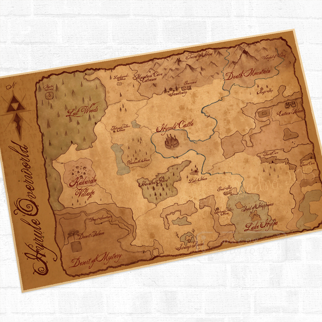 Hyrule world map the legend of zelda video game poster retro hyrule world map the legend of zelda video game poster retro canvas painting diy wall stickers gumiabroncs