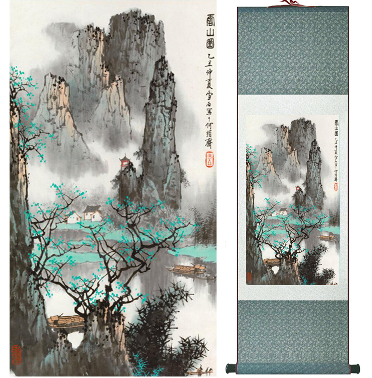 Mountain and River painting Chinese scroll painting landscape art painting home decoration picture 041703