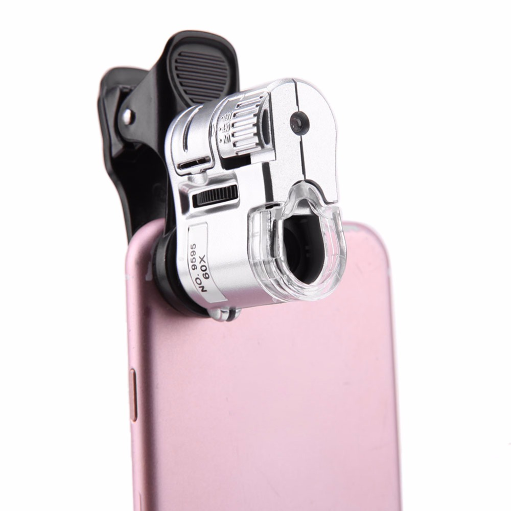 Universal 60X Mobile Phone Microscope Macro Lens Zoom Micro Camera Clip with LED Light practical 8x manual focus telescope for mobile phone lens camera with universal clip