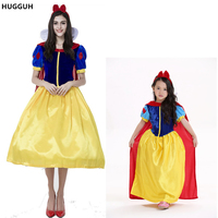 New Polyester Parent Child Yellow Children S Day Princess Dress Halloween Cosplay Snow White Costumes Hot
