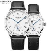 Швейцарский Новый стиль AGELOCER роскошный автоматический пару часов Мужские Женские часы кожаный ремешок наручные часы для любителей Montre Homme