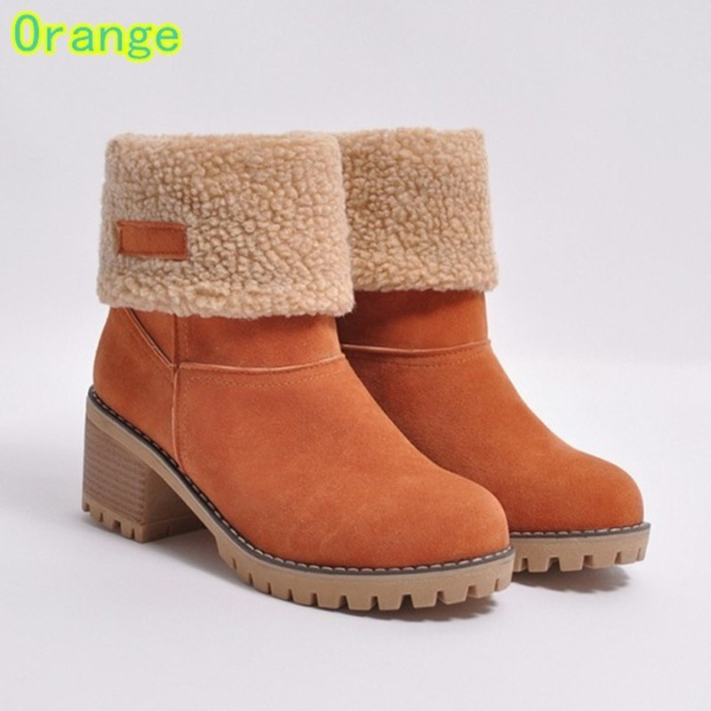 Autumn and winter new large size womens boots thick with the middle of the set of feet lamb hair plus velvet warm cotton bootsAutumn and winter new large size womens boots thick with the middle of the set of feet lamb hair plus velvet warm cotton boots