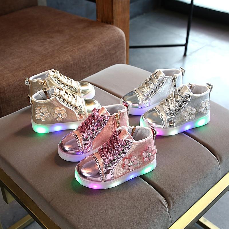 Luminous-Sneaker Shoes Light-Up Tennis-De-Ninos Pink Girls with Floral