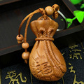 Fortune Carved Ebony Wallet Key Chain Car/Bag/Purse Keychain Amulet Pendant Wooden Accessory Llaveros Porte Clef All The Best