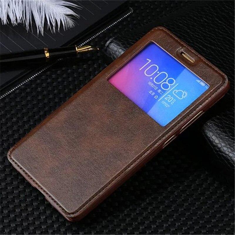 Роскошный кожаный флип-чехол с окошком для Huawei Honor 5X X5 GR5 2016 GR5W Kiw-L21 чехол для телефона с функцией автоматического сна