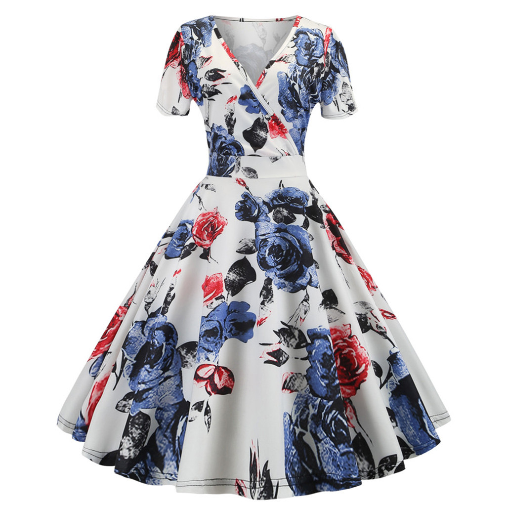 Summer Women Dress Vintage 1950s Retro Pleated Short Sleeve White Print Evening Party Gown Prom Swing Dress Sundress L610