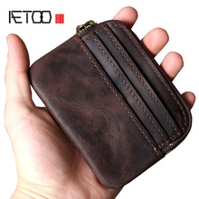 AETOO Retro first layer leather card wallet purse handmade original key package driving license portable mini coin bag