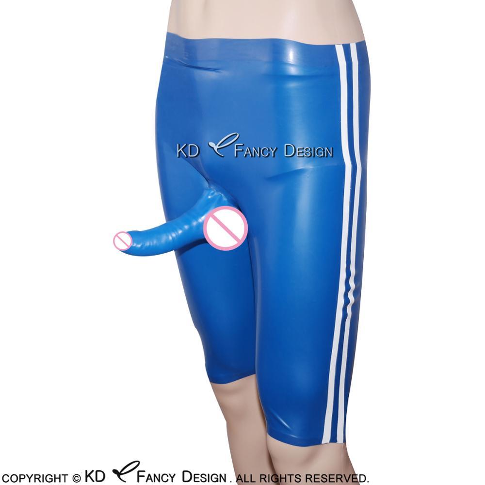 Bleu avec des rayures blanches sur les deux côtés Sexy Latex longue jambe Boxer Shorts en caoutchouc garçon caleçon pantalon sous-vêtements DK-0066