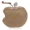 Free Shipping Flash Diamond Women Day Clutch Evening Bag Fashion Apple Shape Glitter Crystal Handbag Female Tote Shoulde Bag