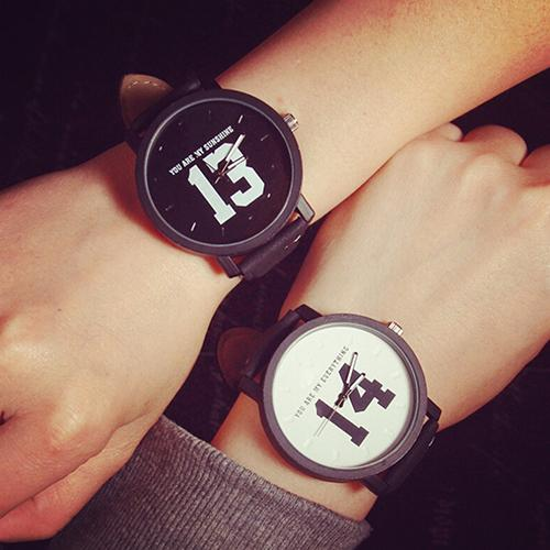 Men Women Couple Lover Number Dial Faux Leather Relogio Quartz Matching Wrist Watch Couple Watch