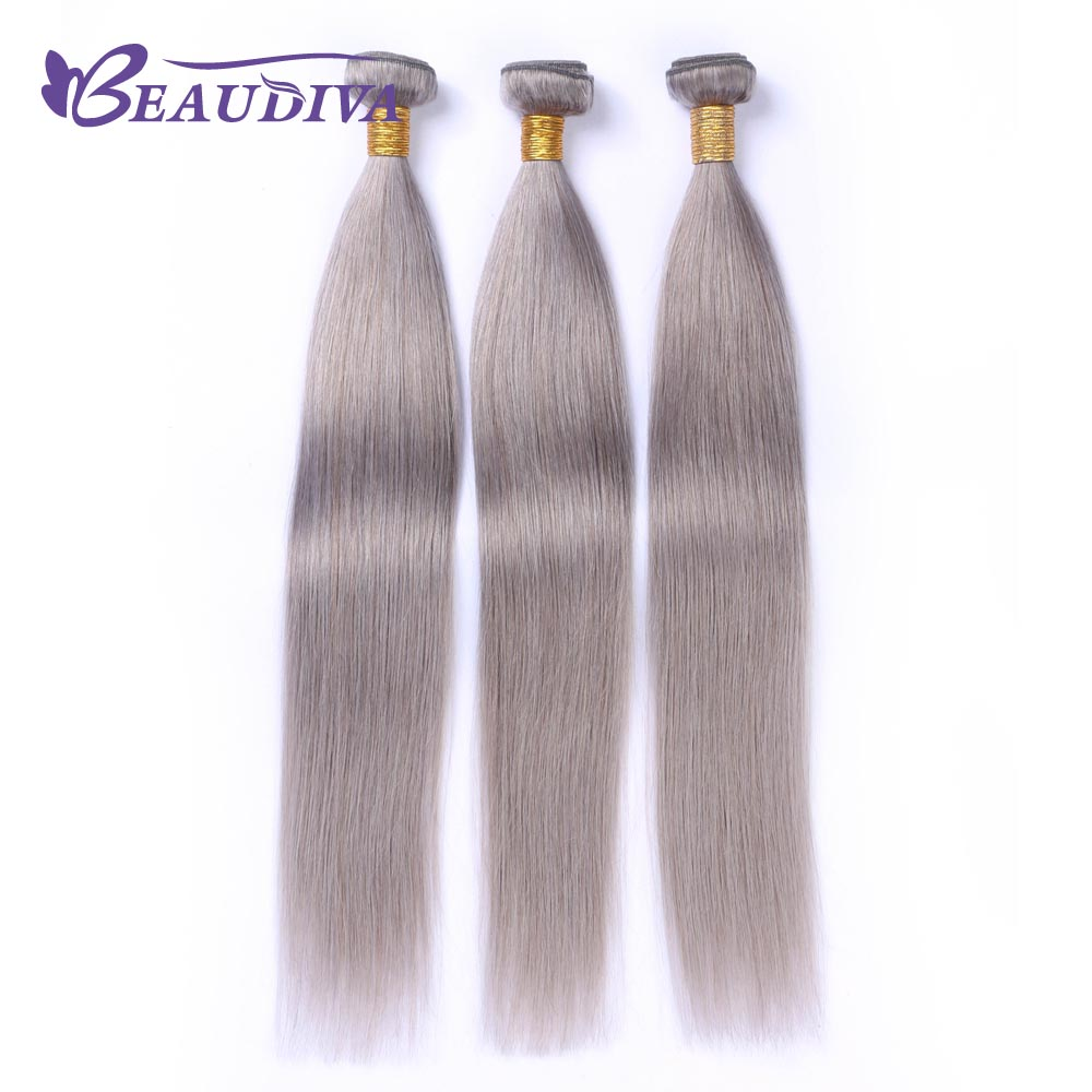 BEAUDIVA Hair Color Grey# Brazilian Straight Remy Human Hair Extensions Human Hair 3 Bundles