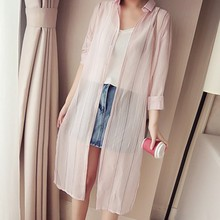 2019 Summer Sunscreen Women Chiffon Blouse Fashion Striped Casual Loose Long Blouses Kimono Cardigan Female Clothes