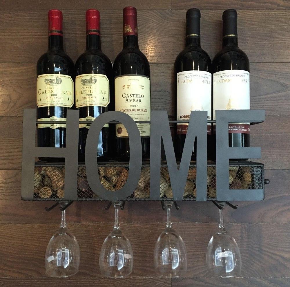 Support A Bouteille De Vin Mural €54.61 |porte vin mural en métal support en verre à 4 tiges et rangement en  liège|metal wall rack|metal rack|wall wine rack - aliexpress
