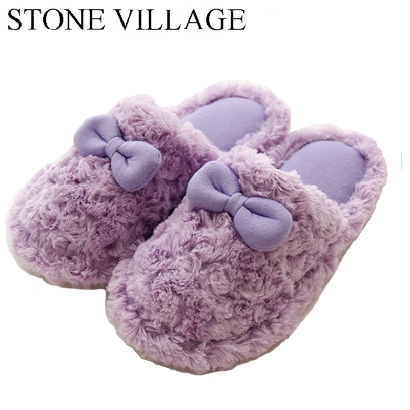 Autumn And Winter Cute Cotton Women Slippers Plus Warm Home Slippers Waterproof Non-Slip Indoor Shoes Bowtie Cute Women Shoes недорго, оригинальная цена