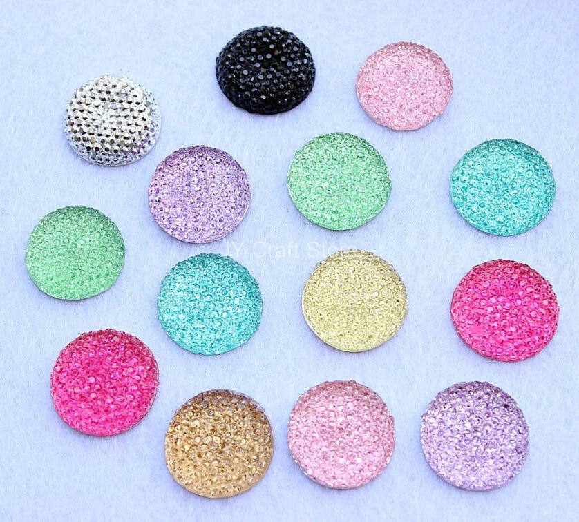 Set of 100 pcs Shining Cabochon Beads FlatBack Gems Embellishment 20mm Resin Cabochon Mixed Colors Free Shipping
