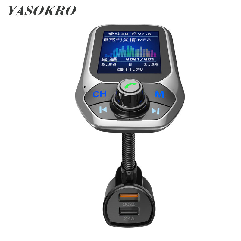 1.8 inch Color Display Bluetooth FM Transmitter Wireless Car FM Modulator Mp3 Player Car Kit Handsfree QC3.0 Car Charger image