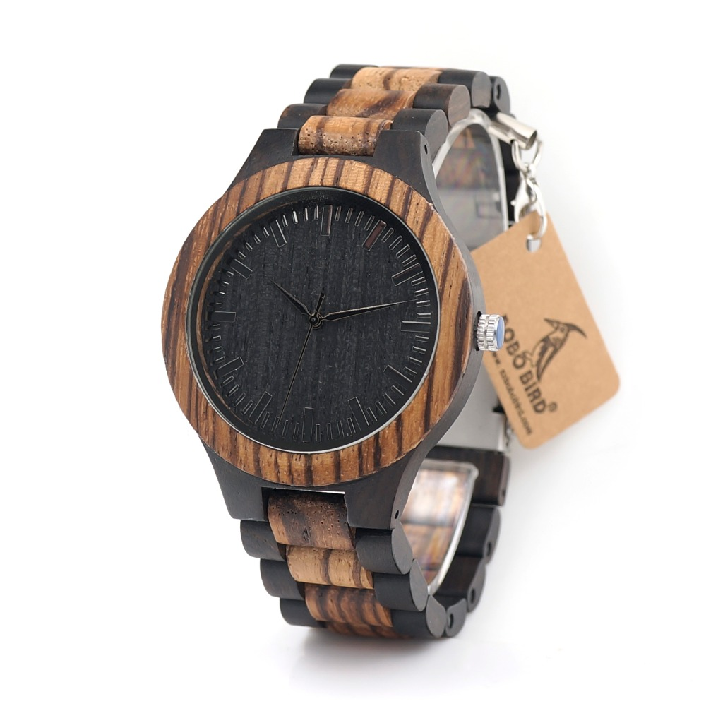 BOBO BIRD D30 Top Brand Designer Mens Wood Watch Zabra Wooden Bamboo Quartz Watches for Men Japan miyota Watch Men in Gift Box цена