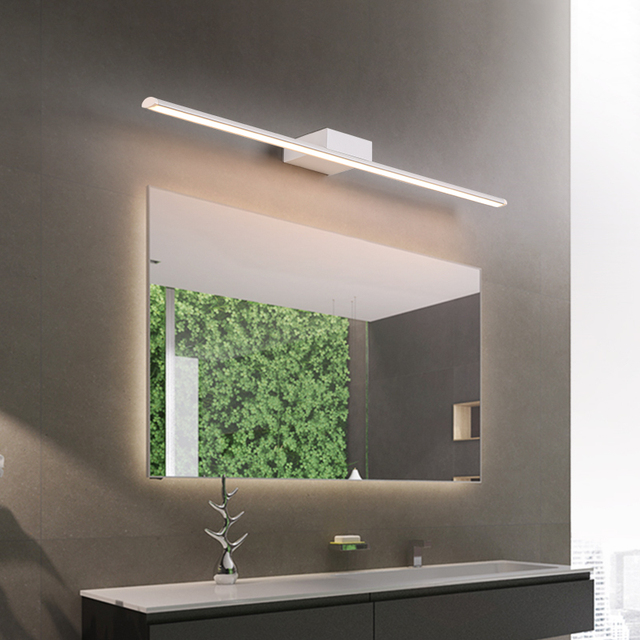 Modern Stainless Steel LED front mirror light bathroom makeup wall ...