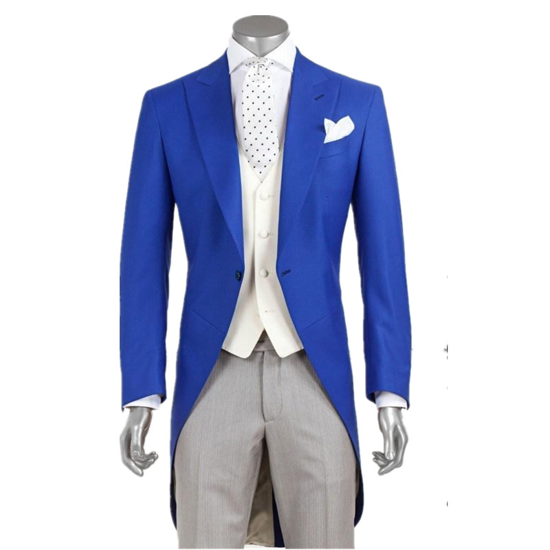 New Fashion Royal Blue Groom Long Tailcoat Tuxedo Best Man Wedding Suits Custom (coat + Pants + Vest)