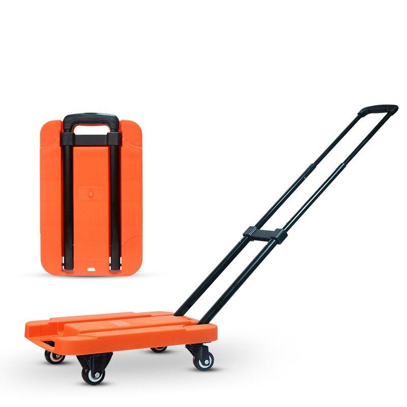 200KG Folding Portable hand trolley flat trolley folding bag trolleys  luggage shopping cart Portable Stainless truck trailer