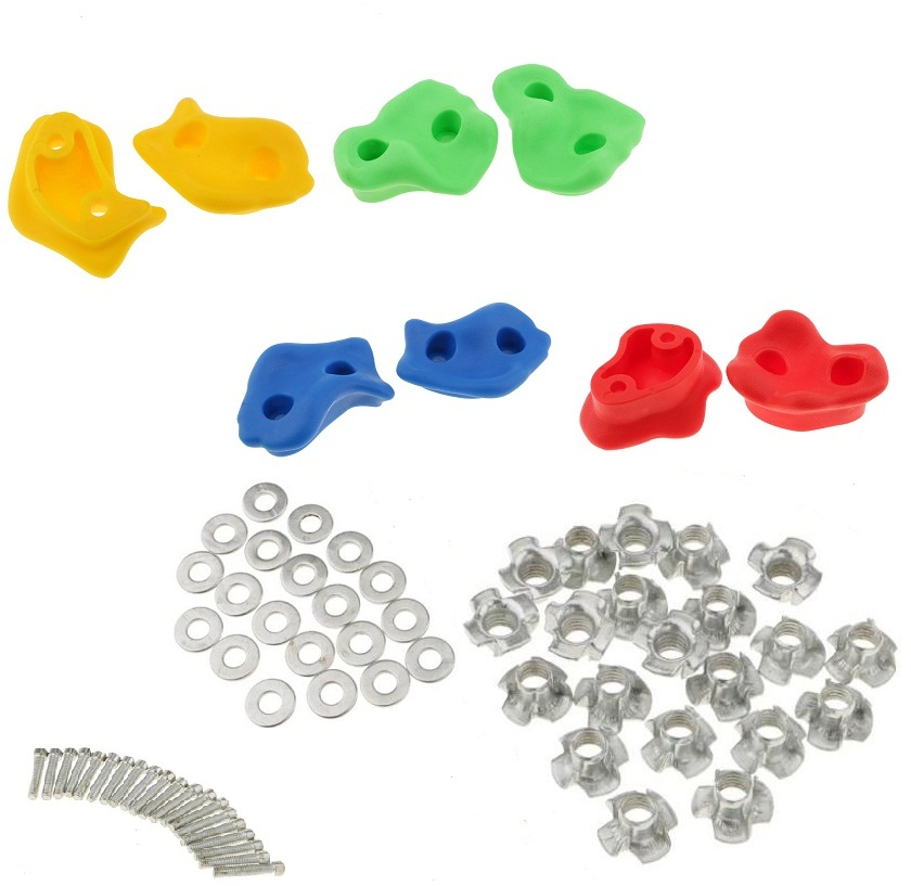Climbing Frame Mixed Color Rock Climbing Wall Stones Hand Feet Holds Grip Hardware Kits Children Kids Toys- Small Size
