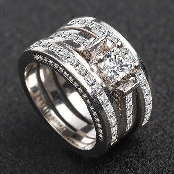 100% 18K White Gold Diamond Ring Set for Women Men Anillos Three piece Bizuteria Gemstone 18k Gold Diamond Jewelry Wedding Rings 5
