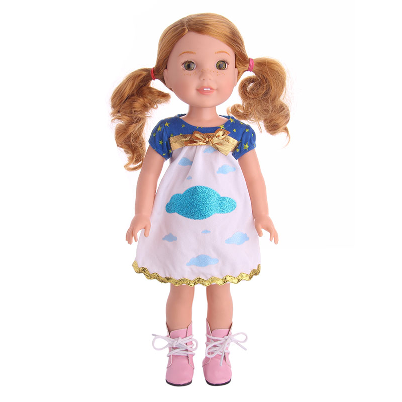 Handmade American Girl Doll cloud pattern with bow tie Dress Fit 14.5 Inch Wellie Wishers Doll best Gift