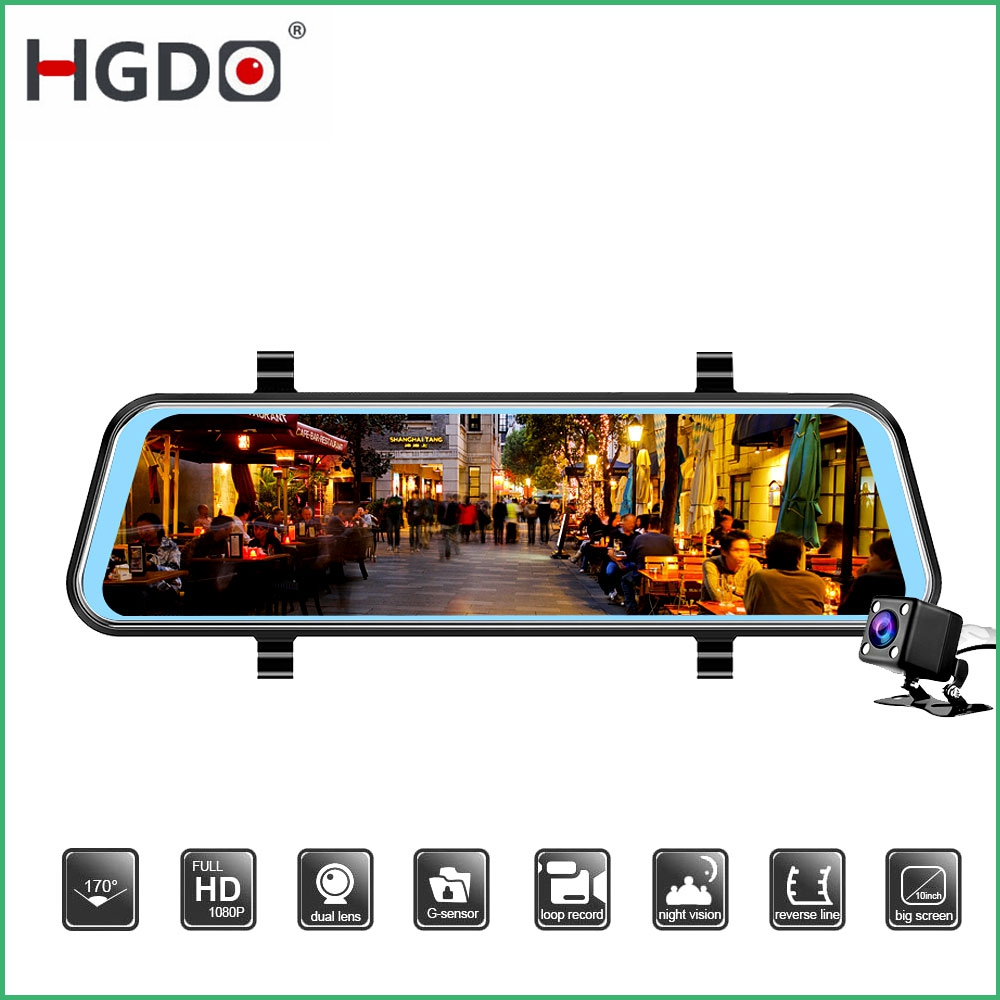 HGDO Night Vision Dash Cam Rearview Mirror 10 Inch Touch Screen  Car Dvr Camera Video Recorder Full HD 1080P  Dvrs Dual Lens Cam