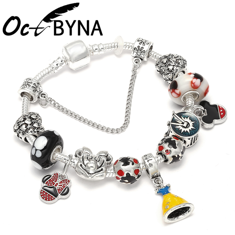 Promotion Sale Micky Minnie Cartoon Charm Bangle & Bracelet with Princess Dress for Women Kids Pandora Bracelets Jewelry