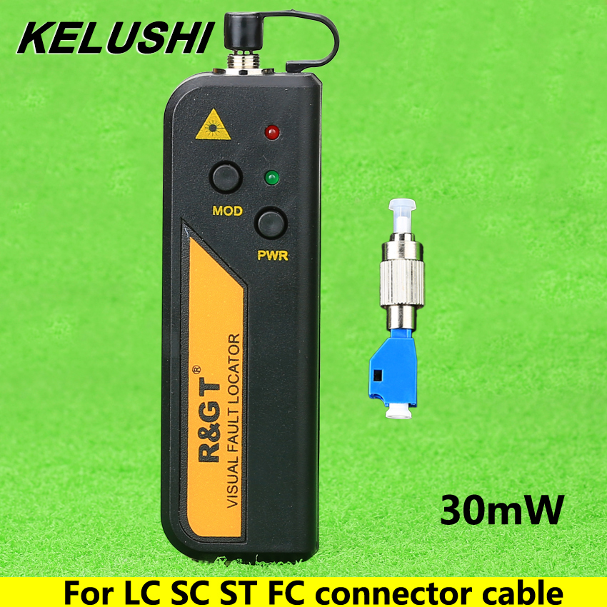 KELUSHI 30mW Visual Fault Locator Fiber Optic Cable Tester and LC/FC/SC/ST Adapter