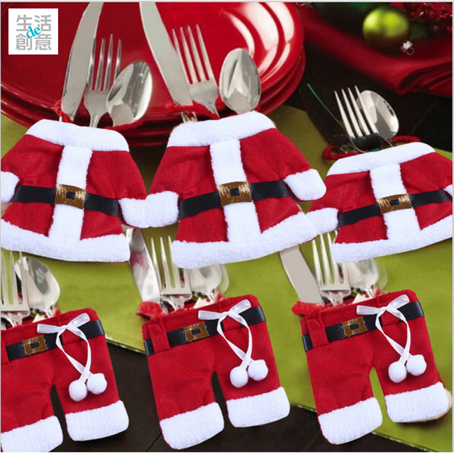 2017 xmas table decoration handmade cute christmas santas clothes christmas cutlery suit knives and forks pockets