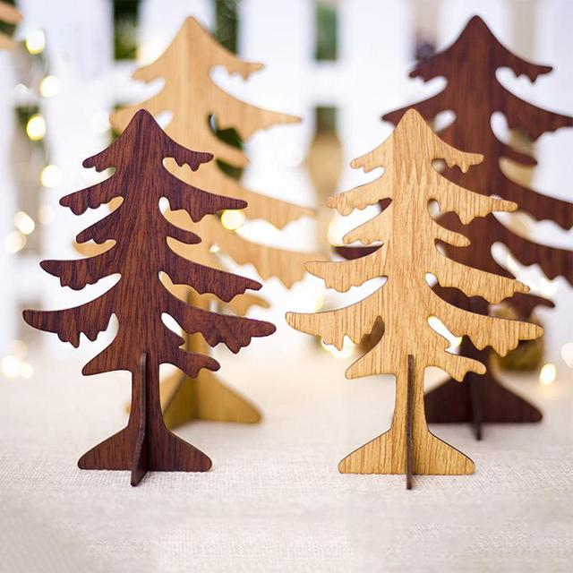 Us 0 76 48 Off Aliexpress Com Buy Creative Carving Christmas Tree Ornaments Wooden Christmas Table Decoration Christmas Decorations From Reliable