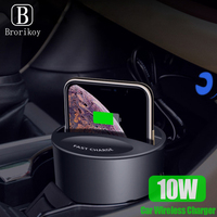 Car Wireless Charger Cup for Samsung S7 S8 S9 S10 Plus Note 8 9 10W Qi Wireless Fast Charging With Type C for iPhone 8 X Xs Max