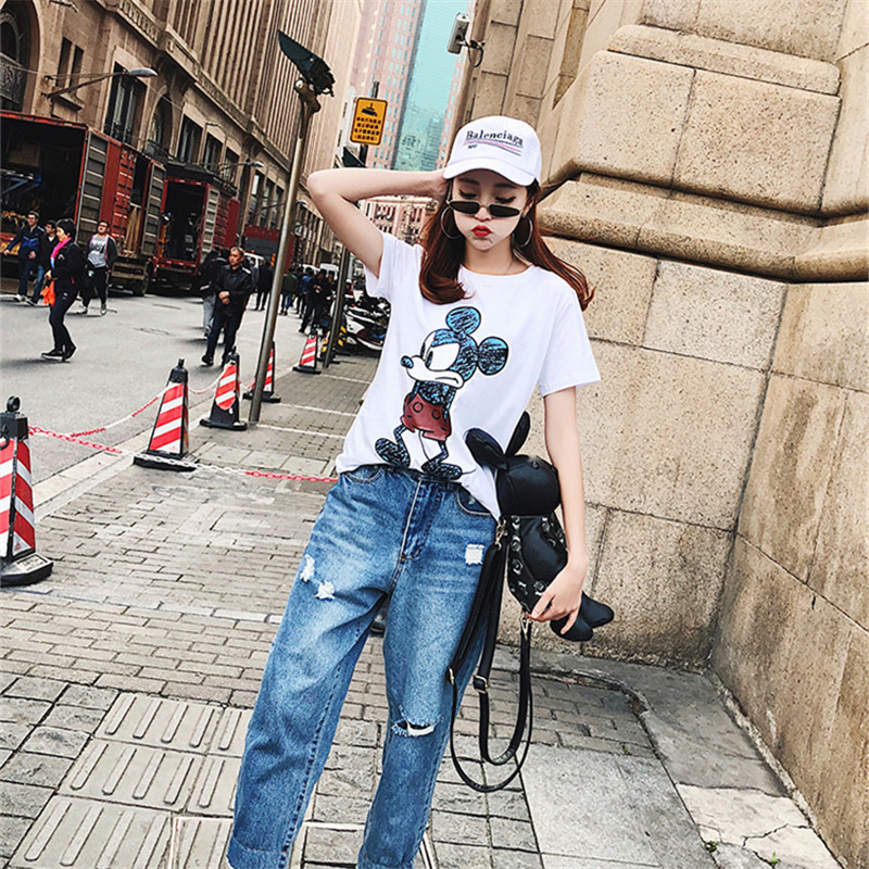 2019 Summer New Women's T-shirt Fashion Casual Mickey Mouse Printing Round Neck Short Sleeve Loose Female Tshirts 5