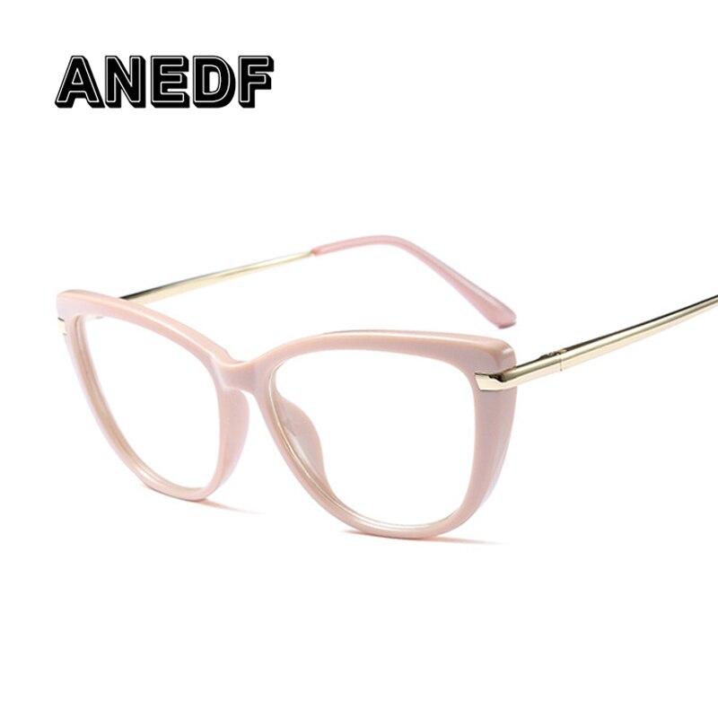 ANEDF 2018 Cat Eye Eye Glasses Frames For Women Brand Designer Eyeglasses Clear Lens Glasses Frame Oculos De Sol UV400 Eyewear