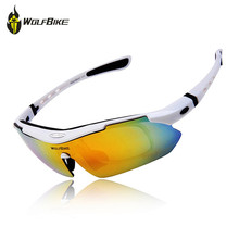 WOLFBIKE 5 Lens Polarized Cycling Sunglasses Bicycle Bike Outdoor Sports Goggles for Men and Women Colors Glasses