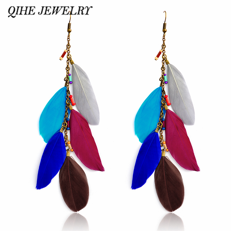 QIHE JEWELRY Multi color royal blue brown feather tassel long dangle earrings Bohemian earring Boho chic Women jewelry