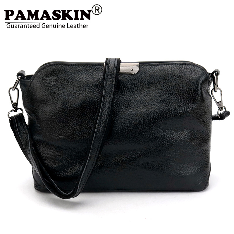 PAMASKIN Brand Women Messenger Bags Premium Real Leather 2018 New Arrivals Simple Lady Shoulder Bags Hot Female Crossbody Bags pamaskin brand premium genuine leather women single shoulder bags vintage rivet female messenger bag designer crossbody bags hot