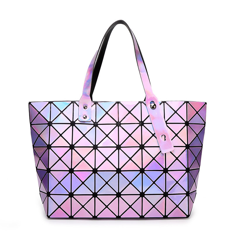 Laser BaoBao Women Dazzle Color Plaid Tote Casual Bags Female Fashion Fold Over Handbags Lady Sequins