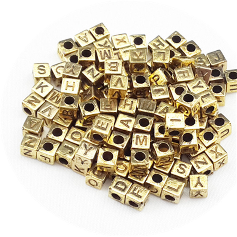 100pcs 6mm Square Alphabet/Letter Acrylic Beads Toys For Children Silver Golden DIY Plating Bead For Jewelry Making Girl Gift