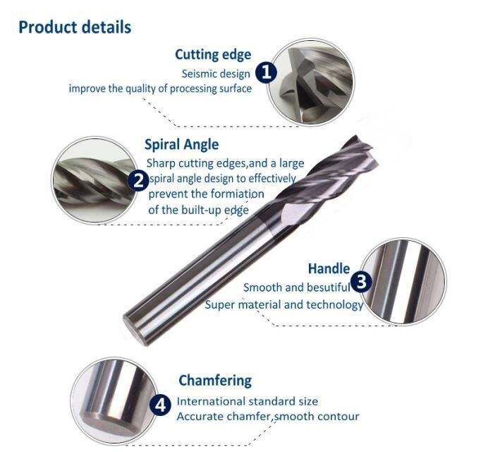 "10pcs 3//16/"" 4 Flute Single End TiALN Coated High Quality Korea Carbide End Mills"