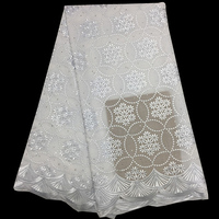 Free shipping (5yards/pc) pure whit African cotton lace fabric fine embroidered Swiss voile lace fabric for party dress CLS162
