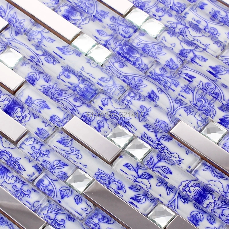 strip blue flower glass mosaic mixed metal and diamond tile kitchen backsplash bathroom shower tiles hallway border