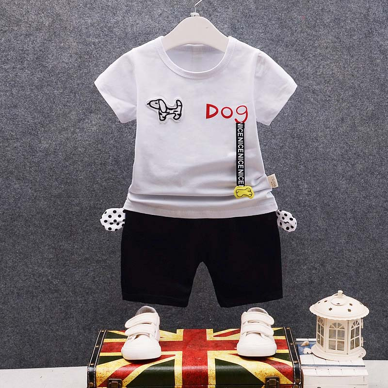 BibiCola baby boys summer clothing set 2pcs infant kids tracksuits cartoon dog t-shirt+shorts newborn casual clothes