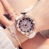 2017 New Woman Quartz Watches Waterproof 30mFUYIJIA Watch Rotating Dial Dress Belt Watch Fashion Rose Gold