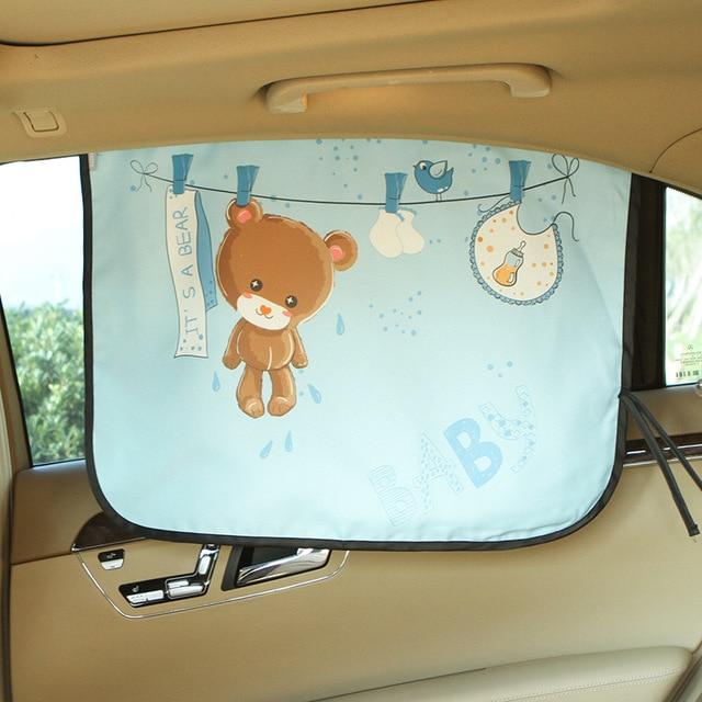 Car Windshield Car Sun Shade Curtains Cute Cartoon Car Styling Rear Side  Window Sunshade Protect Window 89c4f839886