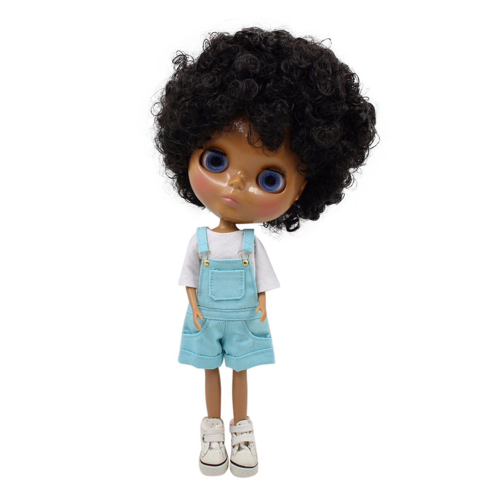 氷工場ブライス人形ヘッドリカちゃんボディダークスキンアフロカーリーヘア 1/6 30 センチメートル、ヘッド緩すぎる  グループ上の おもちゃ & ホビー からの 人形 の中 1