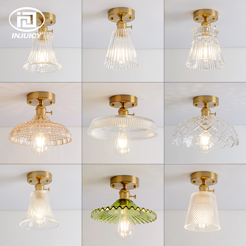 Vintage Industrial Brass Glass Single Head Ceiling Lights Clear Glass Crystal Carved Retro Ceiling Lamp For Bedroom Aisle цена и фото