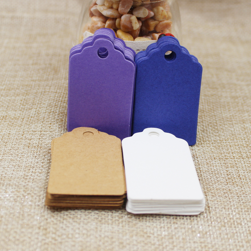 2018 hot sale 100Pcs 5*3cm DIY Kraft /white/purple/blue Paper blank Tags Scallop Head Label Luggage Wedding Note Blank price tag
