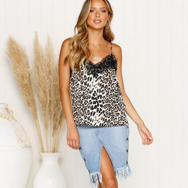 Leopard Print Tank Women...